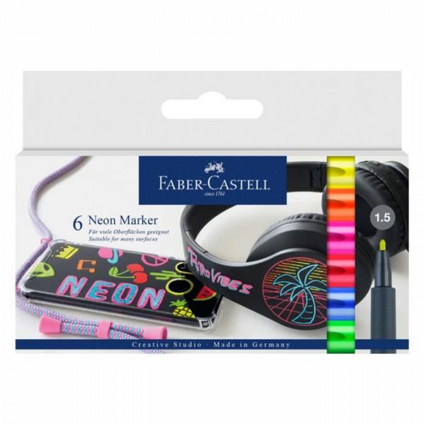 Neon Marker-Set mit 6 Farben