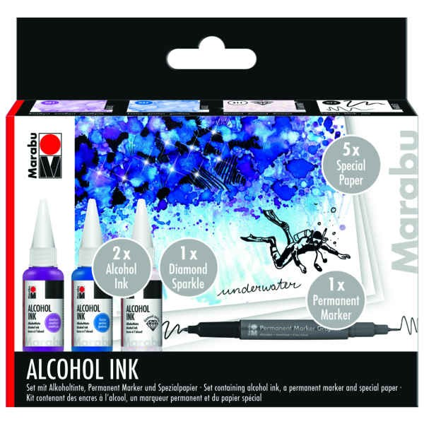 Alkoholtinte, Alcohol INK Set - UNDERWATER -