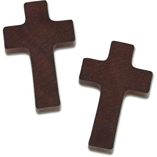 Holzkreuz braun für Rosenkranz, 35 x 21 x 5mm