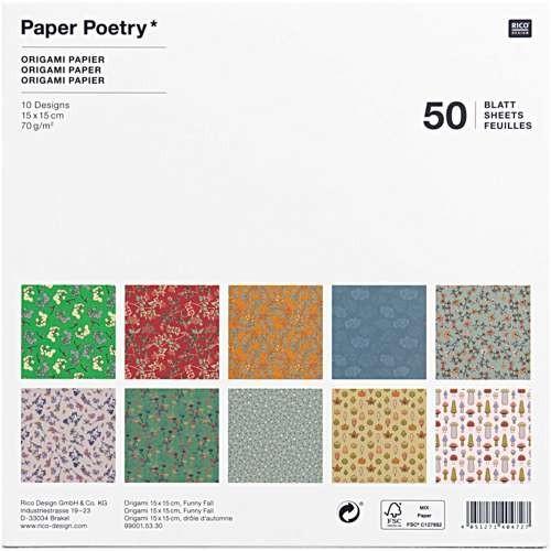 Origami Faltblätter 70g/m² 15x15cm - 50 Blatt