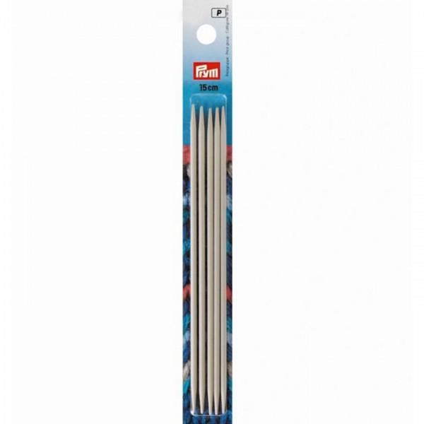 PRYM 15cm Strumpfstricknadeln Aluminium mit 2 Spitzen
