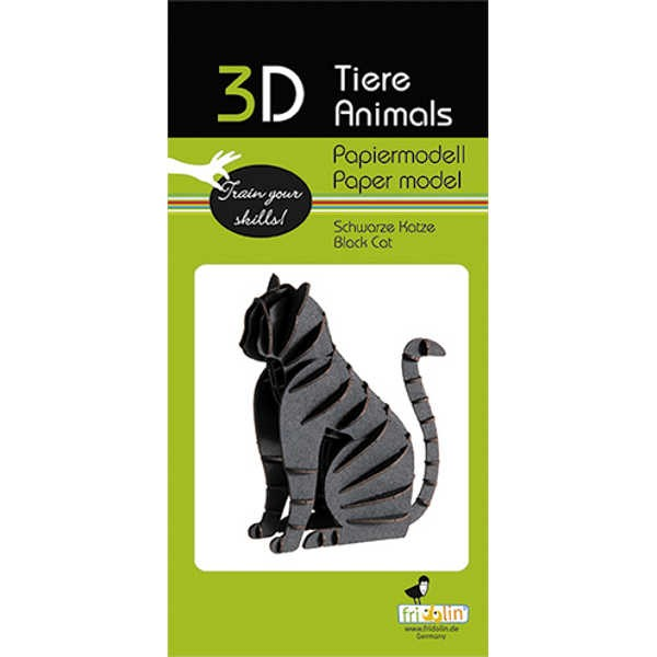 """3D Papiermodell """"Schwarze Katze"""" zum zusammenbauen"""