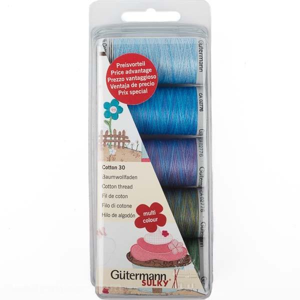 Stickfaden-Set Cotton 30, 5 Spulen, Multicolor 2 Gütermann