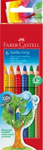 JUMBO Grip, 6er Set - Wasservermalbare Buntstifte (extra dick)