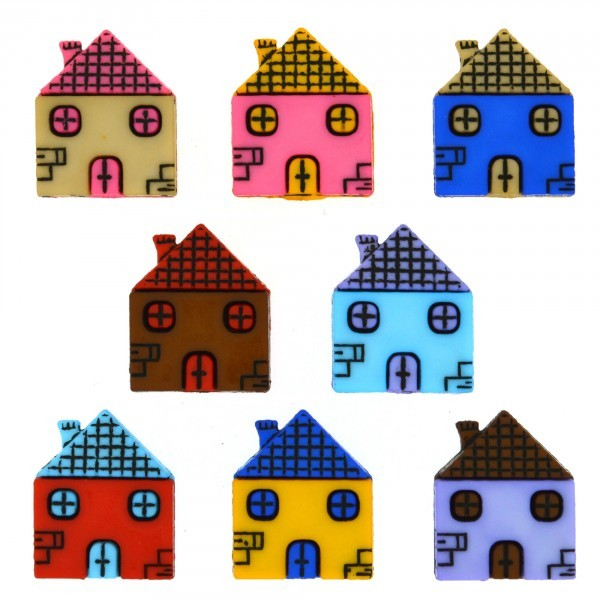 Dress it up Knöpfe, Row Homes 6-tlg. Häuser Knöpfe wollzauber.com