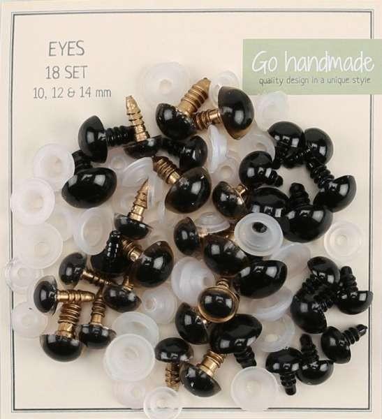 Kunststoff Augen braun rund