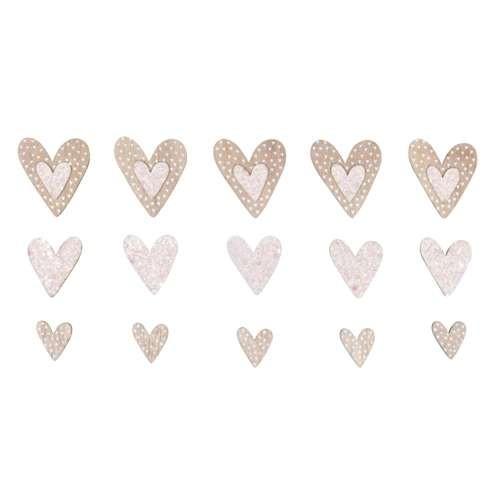 Holz Streuteile in Herzform mit Klebepunkt 15 Stück
