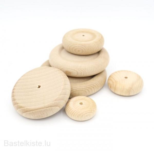 Holzrad natur mit runder Lauffläche in verschiedenen Größen