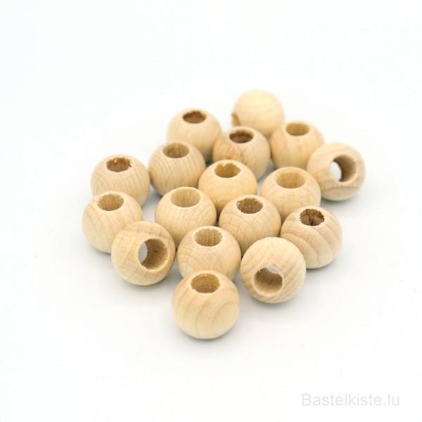 Runde Holzperlen Ø 15 mm NATUR, für Macrameé