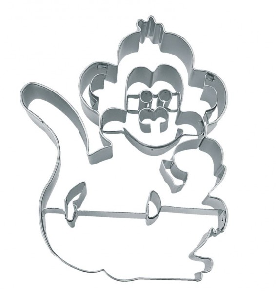Präge-Ausstechform Affe 9 cm aus Edelstahl