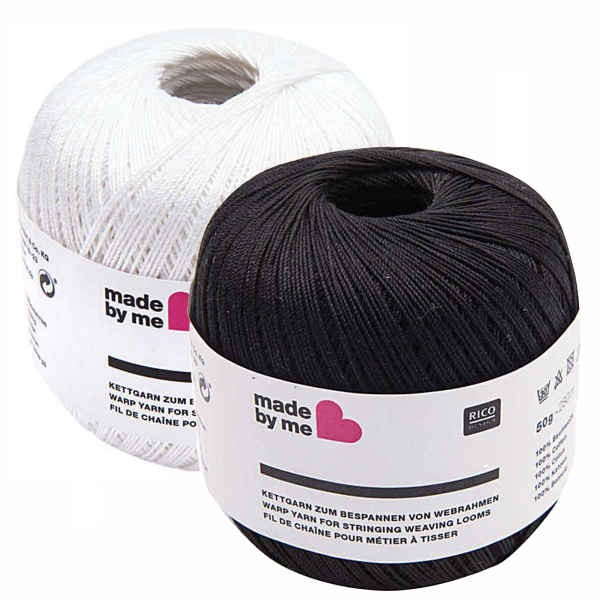 Feines Kettgarn 50g aus Baumwolle, weiß oder schwarz