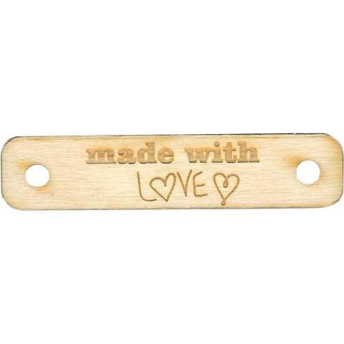 Holzlabel, Holzanhänger MADE WITH LOVE rechteckig