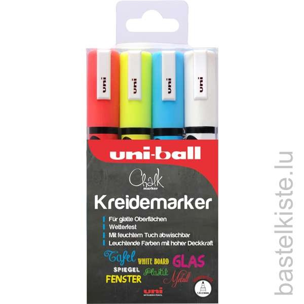 UNI-BALL Kreidemarker 4er Set, Ø 1,8 - 2,5 mm