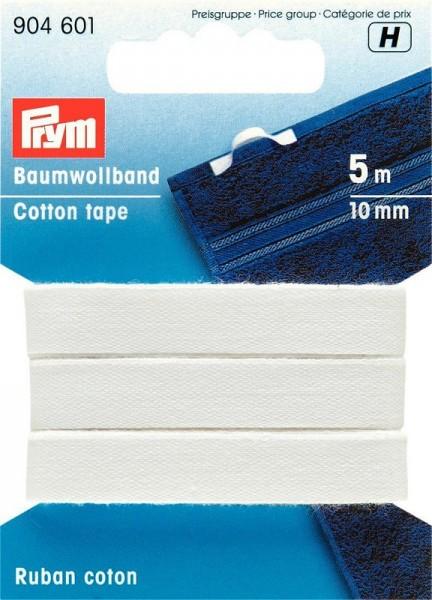 Baumwollband, 10mm, weiß, prym, 904601