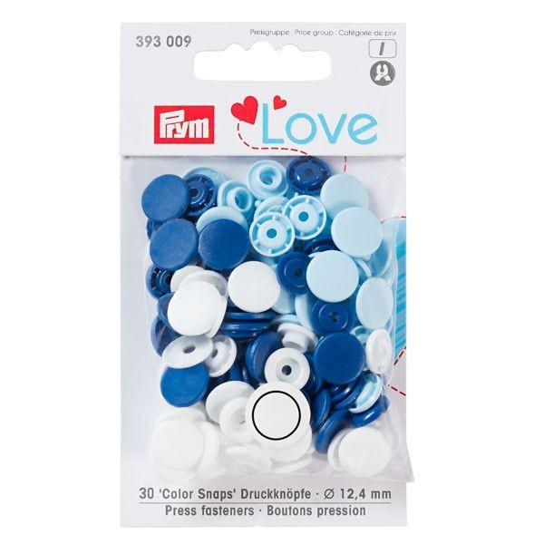 Druckknopf Color Snaps, Prym Love, blau/weiß/hellblau wollzauber