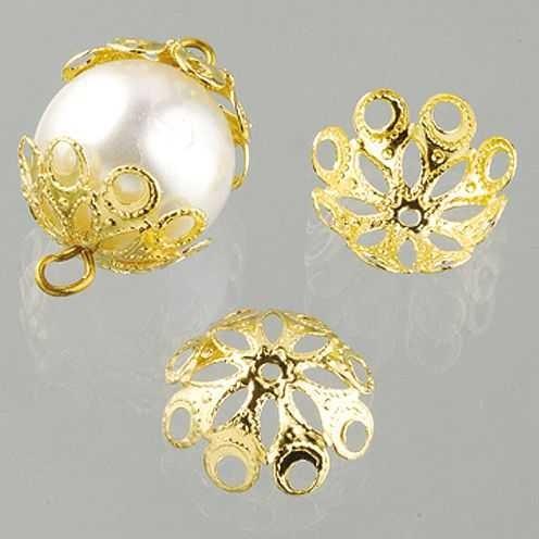 Perlkappen, Schmuckkappen für ø 14 mm Perlen, 12 Stück