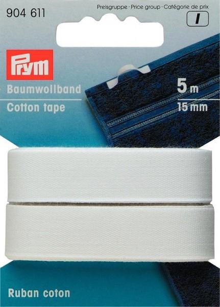 Baumwollband, 15mm, weiß, PRYM, 904611