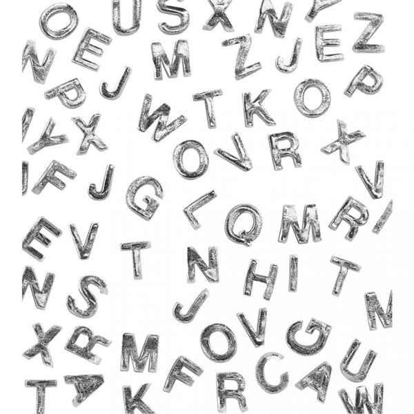 Wachsbuchstaben A-Z, SILBER Ø 9 mm, 2 Stück