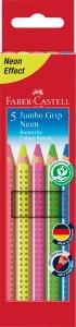 JUMBO Grip, 5er Set Neon - Wasservermalbare Buntstifte Neonfarben (extra dick)