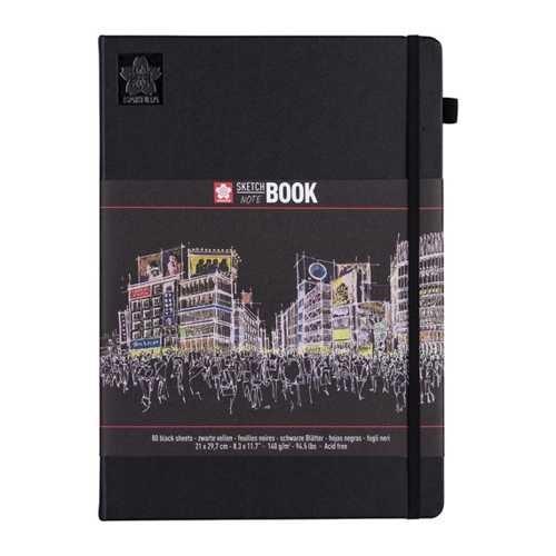 Sakura SKETCH BOOK 21x29,7 cm Schwarz mit 80 Blätter in Schwarz, 140g/m² DIN A4