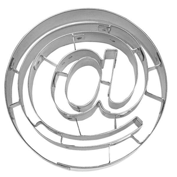 Präge-Ausstechform @-Zeichen 7 cm aus Edelstahl