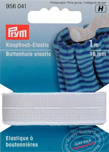 PRYM Knopfloch Elastic Band, 18mm, weiß, 1m