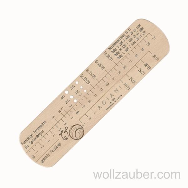 Hochwertige 4-fach KINDER-Sockenlehre, Sockenlineal aus Holz