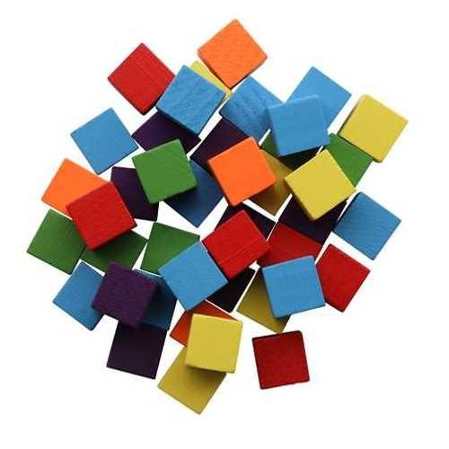 Holzwürfel farbig 15x15x15mm, 42 Stück