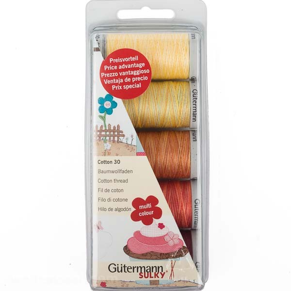 Stickfaden-Set Cotton 30, 5 Spulen, Multicolor 1 Gütermann