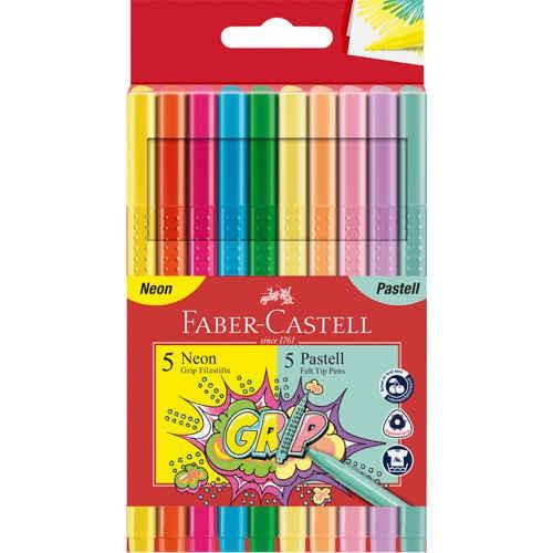 Grip Fasermarker, Filzstift Neon + Pastell im 10er Kartonetui