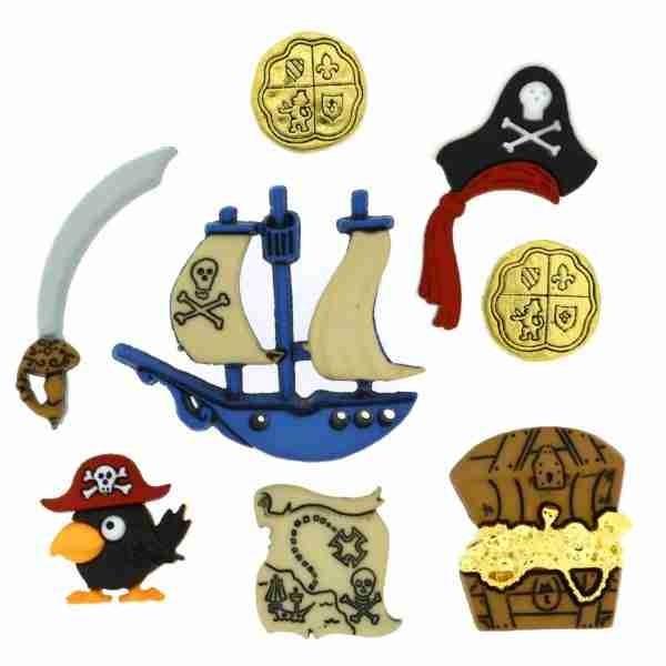 Dress it up Knöpfe, Pirates 8-tlg. Piratenknöpfe wollzauber.com