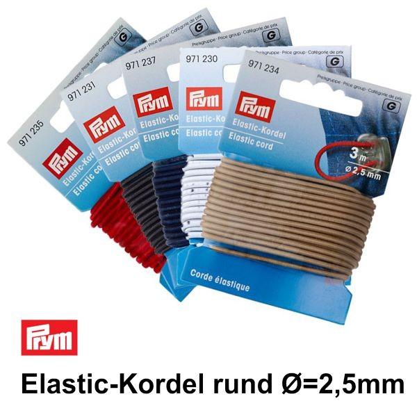 Elastic-Kordel, 2,5mm, weiß, 3m ✓ Qualität von PRYM ✓ hohe Kundenzufriedenheit ✓  PRYM 971230 ✓ Versandkostenfrei DE / LU (ab 20€)