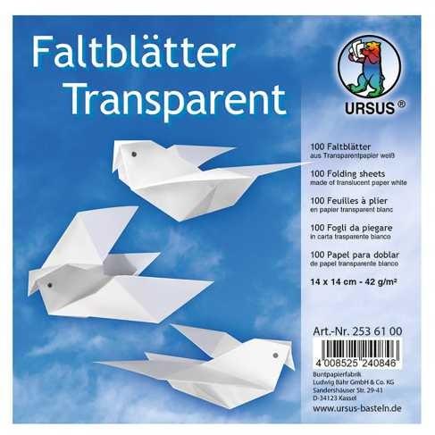 Origami Faltblätter transparent 42g/m² 14x14cm - 100 Blatt weiß