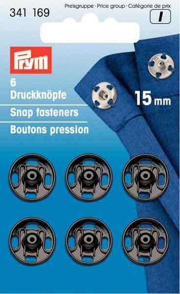 PRYM Annäh-Druckknöpfe 15mm, schwarz 341169