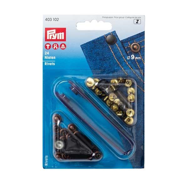 PRYM Nieten 9mm altkupfer/brüniert, 24 St.