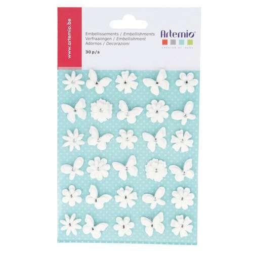 Kleine Verziersticker Blumen & Schmetterlinge in weiß