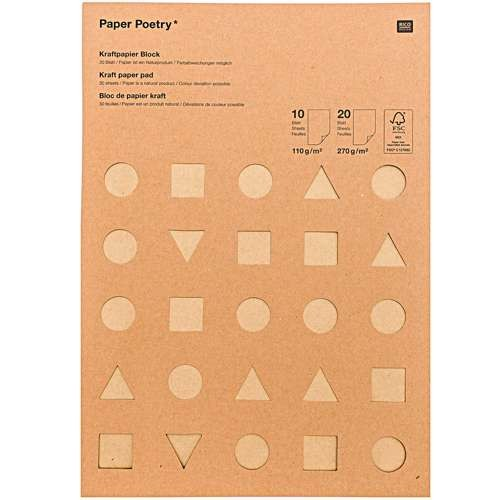 Kraftpapier Block MIX 110g/m² & 270g/m²