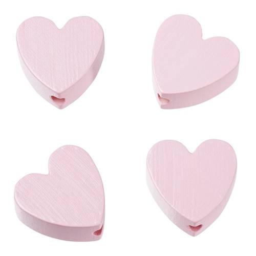 Holzperle Herzform flach 4 Stück rosa