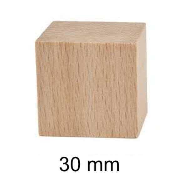 Holzwürfel kantige Ecken aus Buche, Ø 30mm