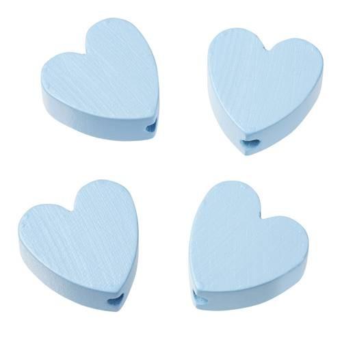 Holzperle Herzform flach 4 Stück hellblau