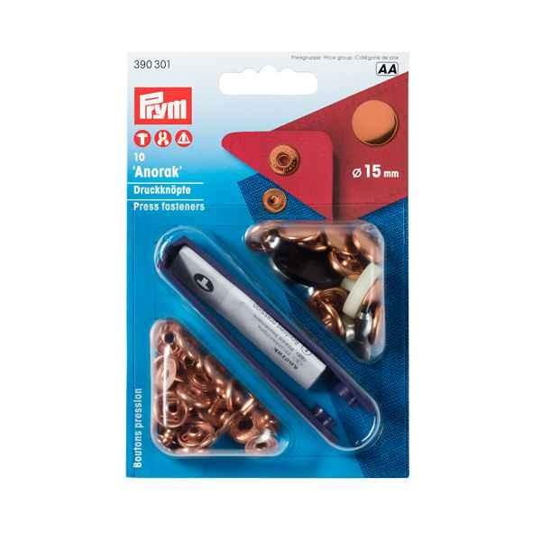 Nähfrei-Druckknopf Anorak, 15mm, silberfarbig PRYM 390301