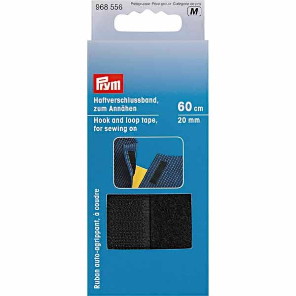 Haftverschlussband zum Annähen, 20mm, schwarz, 60cm