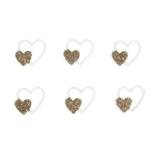 Holz Streuteile in Herzform weiß-gold, 12 Stück