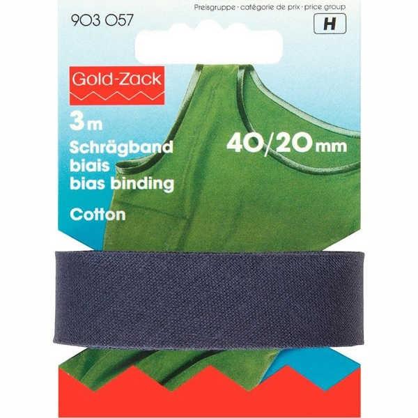 Schrägband, Baumwolle, 40/20mm, marineblau, 3m