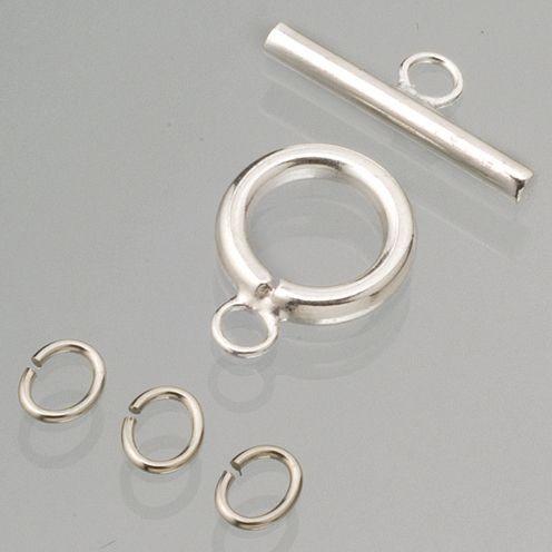 Knebelverschluss, Ø 15 mm, 2 Stück, silberfarben