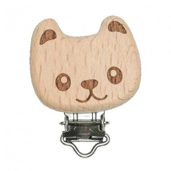 Schnullerclip Bär aus Holz