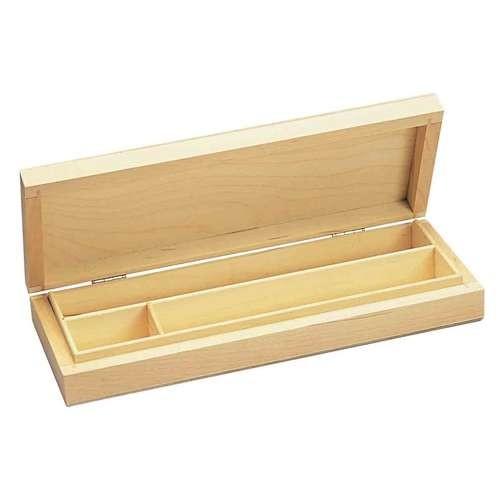 Aufklappbare Holzdose für Stifte und Zubehör