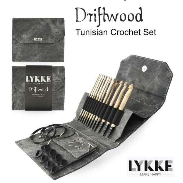 LYKKE DRIFTWOOD Tunisian Crochet set, tunesische Häkelnadel Set wollzauber Stricknadel Holzstricknadeln