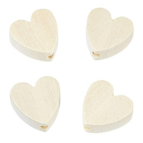 Holzperle Herzform flach 4 Stück
