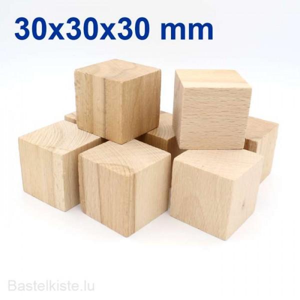 Holzwürfel Ø 30mm kantige Ecken aus Buche